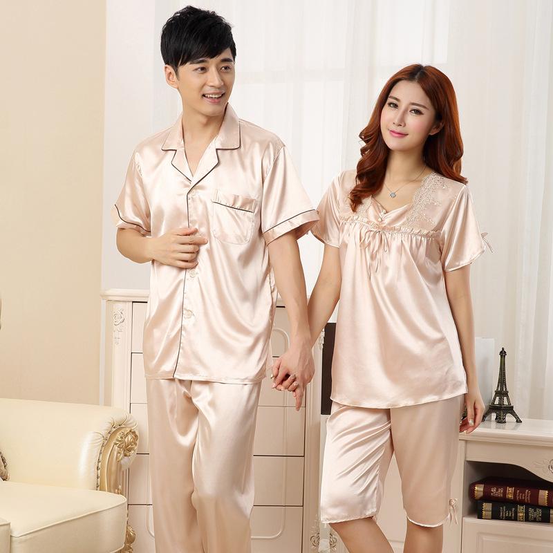 春季丝绸情侣睡衣两件套