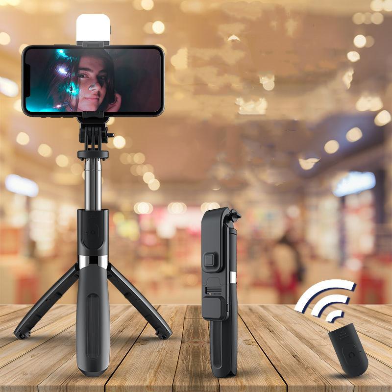补光灯加长手机多功能自拍杆三脚支架高档直播神器全自动通用