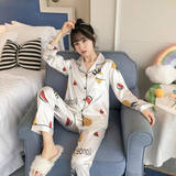 Pajamas women spring and autumn ice silk Korean version of sexy long-sleeved artificial silk student suit ladies summer home service suit