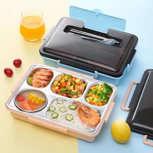 304 stainless steel separate lunch box with tableware