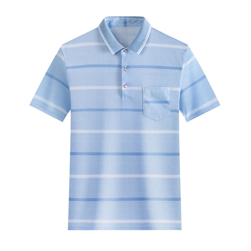 2020热卖冰丝polo衫爸爸装夏季短袖T恤男士商务休闲条纹真口袋