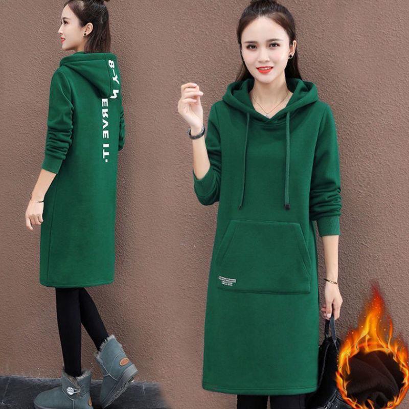 加绒加厚中长款卫衣女韩版连帽外套连衣裙