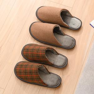 杉下 棉拖鞋女家居家用秋冬季情侣室内防滑厚底保暖毛毛鞋男冬天