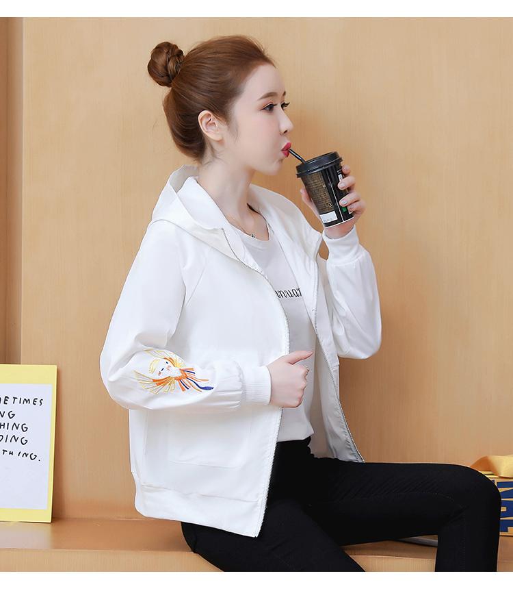 Fall 2020 New Korean version casual loose-sleeved hooded lady short jacket embroidered jacket baseball shirt tide 56 Online shopping Bangladesh