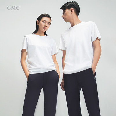 GMC silk soft cotton T-shirt skin short-sleeved men and women with spring and summer cotton solid color casual round neck T-shirt