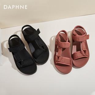 達芙妮女鞋2020新款學生沙灘涼鞋平底鞋仙女風ins夏季時尚羅馬鞋