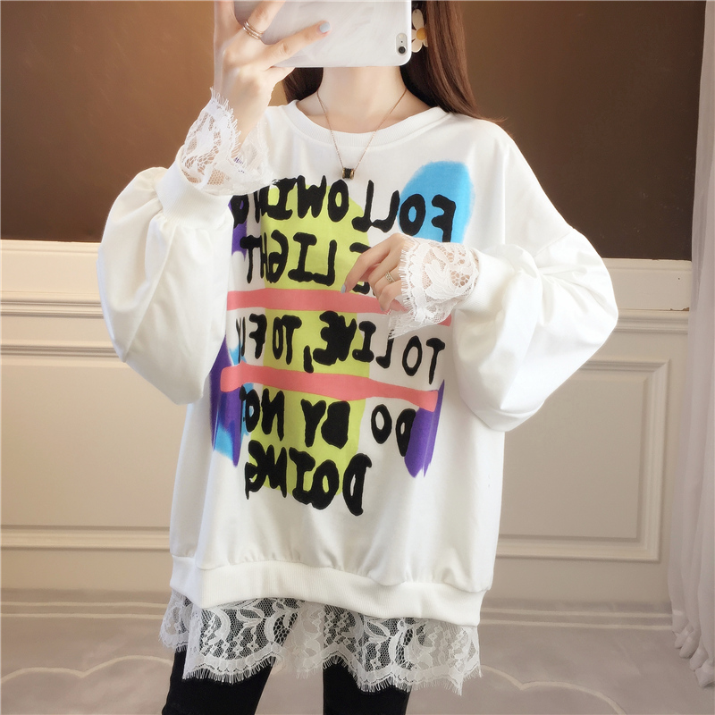 Design sense lace stitching thin wei clothing women spring and autumn Korean version of loose-fitting niche jacket foreign gas jacket ins tide 54 Online shopping Bangladesh
