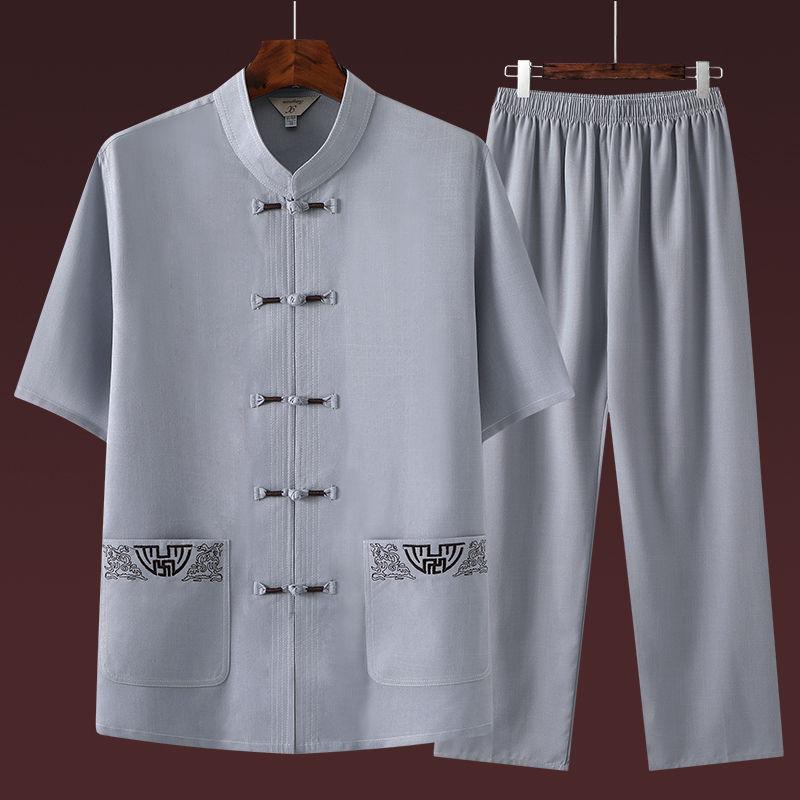 男士唐装中老年棉麻短袖套装中国风男装爸爸装夏季老年人宽松衣服