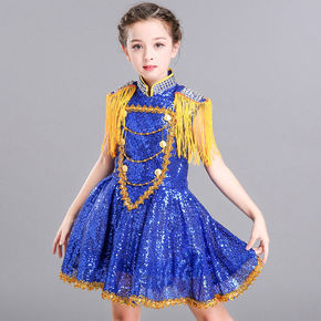 girls princess ballet chorus dresses dance girl's fluffy gauze dress kindergarten princess dress show dress chorus Sequin suit