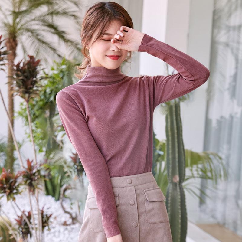 【拍2件28.8】半高领德绒纯色打底衫