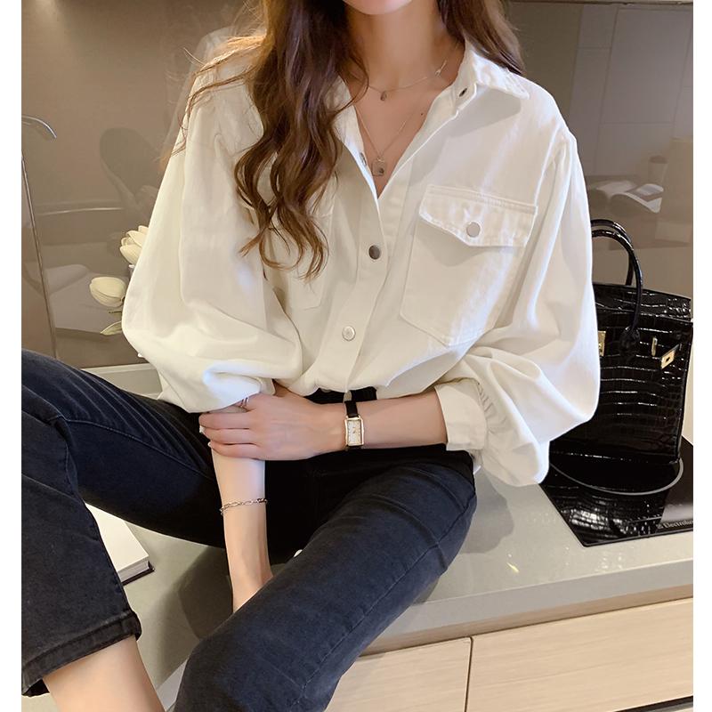 【全国包邮】甄际新品纯棉牛仔衬衫纯色百搭