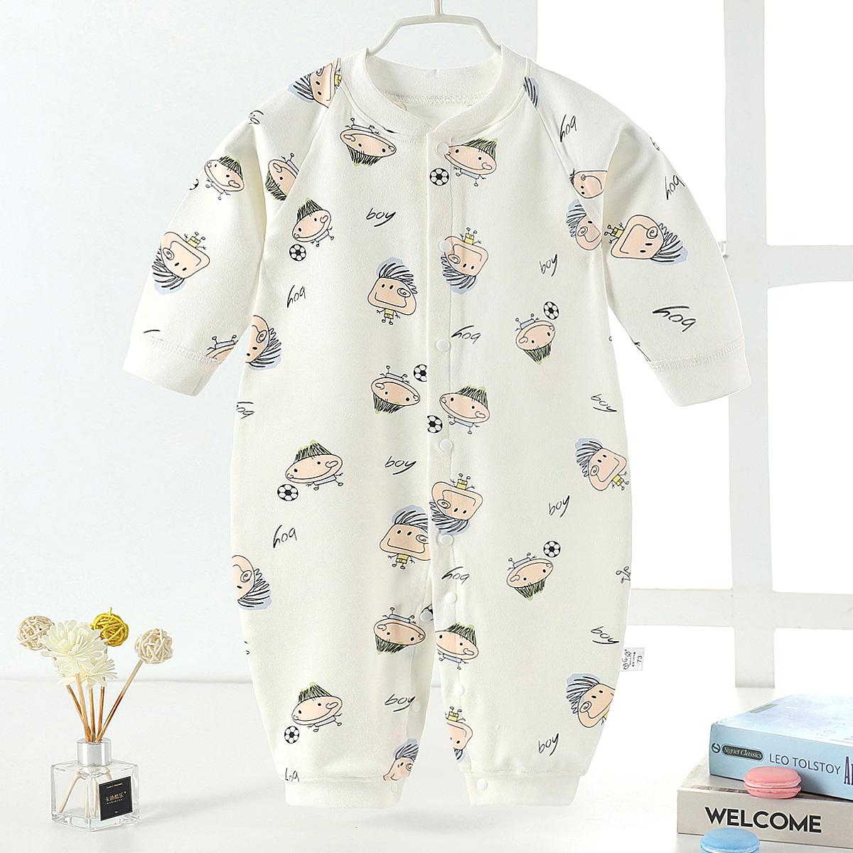 婴儿连体衣纯棉秋衣外出新生儿哈衣睡衣套装服打底春秋冬宝宝空调