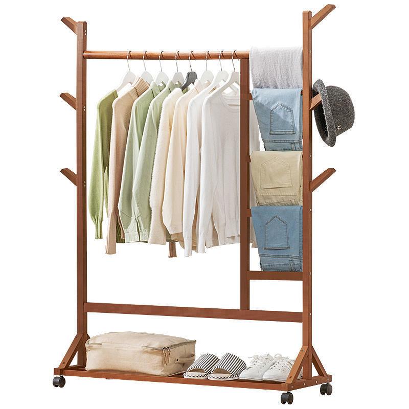 衣帽架落地挂衣架晾衣折叠室内实木简易卧室