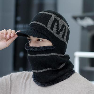 护耳帽子男冬天加绒毛线帽围脖一体加厚骑行帽秋冬男帽护颈连体帽
