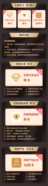 百度网盘超级会员年卡+百度文库vip年卡+网易严选10月卡 图1