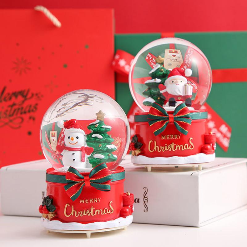 可爱水晶球音乐盒带灯光飘雪花圣诞节送孩子儿童男女朋友闺蜜礼物