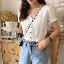 夏季镂空外穿短款针织衫洋气V领冰丝T恤