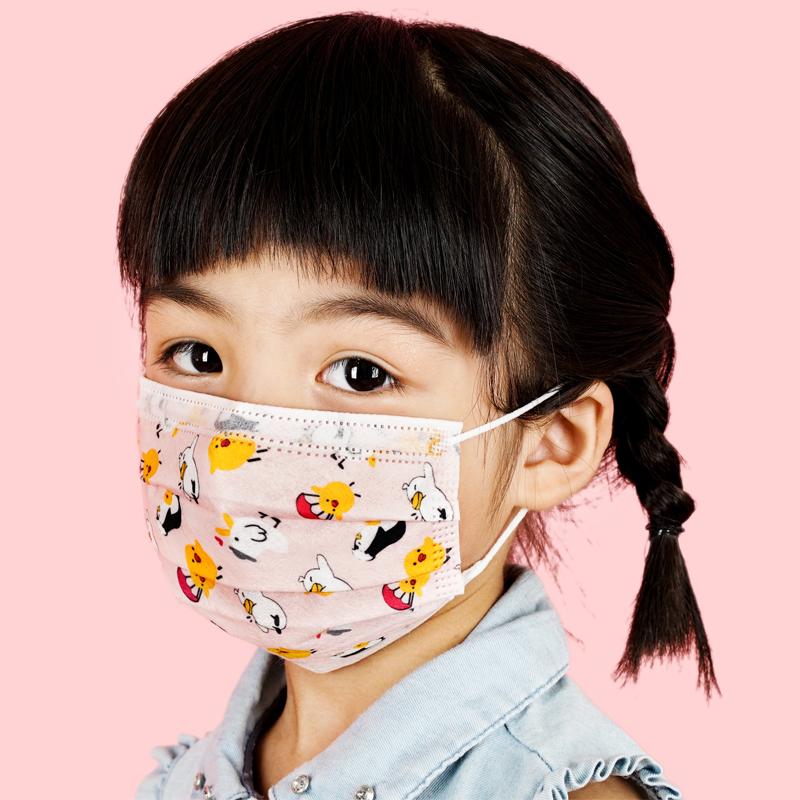 婴果乐儿童口罩女男童学生一次性透气夏天季可爱图案⊙卡通印花口罩