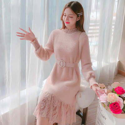 Half-high collar dress female 2020 spring and autumn new Korean version of the long lace stitching fashion plush bottoming shirt female