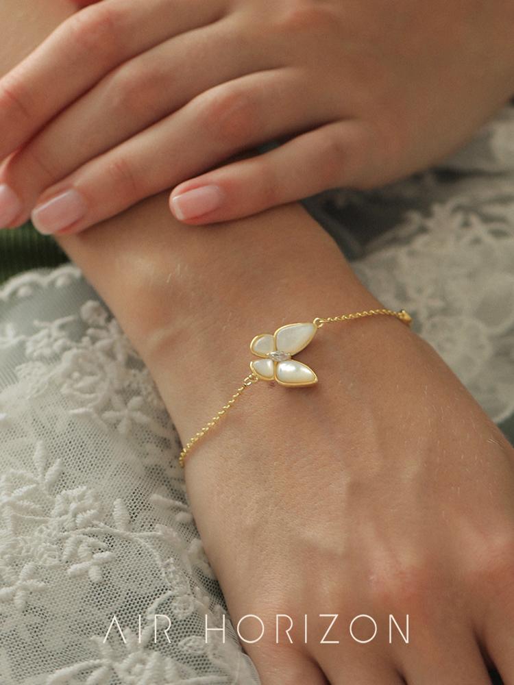 Best friend butterfly bracelet women's sterling silver light luxury ins niche design exquisite hand jewelry Korean version of simple cold wind jewelry