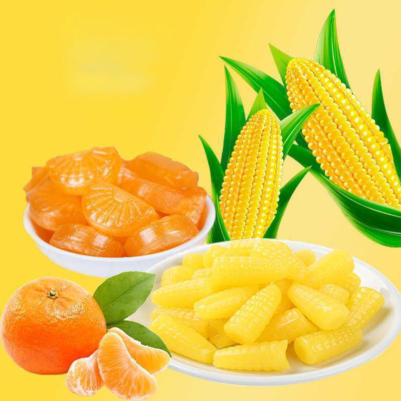 玉米软糖橘子软糖休闲儿时回忆组合喜糖糖果多规格年货水果软糖