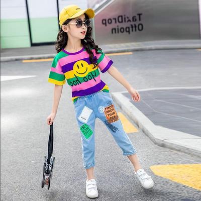 女童套装夏装2021新款儿童洋气两件套小女孩套装中大童短袖童装