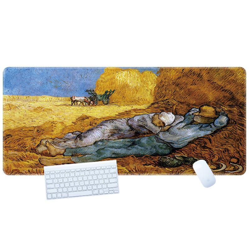 梵高油画鼠标垫超大个性创意艺术复古达芬奇莫奈毕加索办公桌垫大