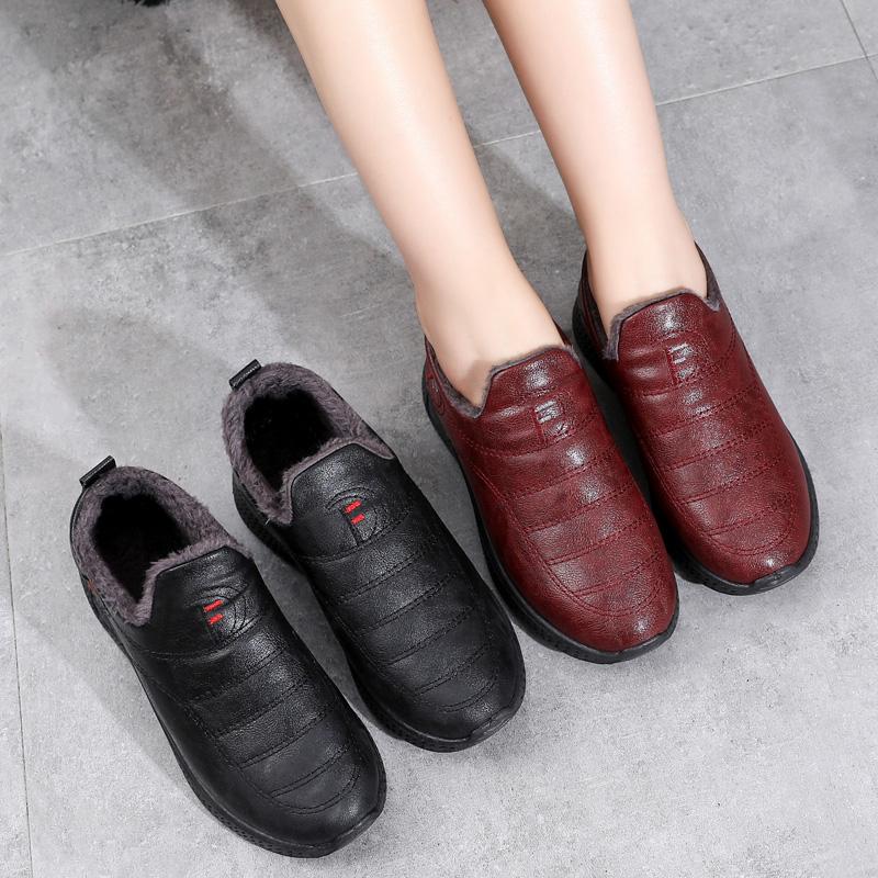 棉鞋女冬加绒一脚蹬加厚保暖妈妈鞋老北京二棉鞋防滑软底皮面防水