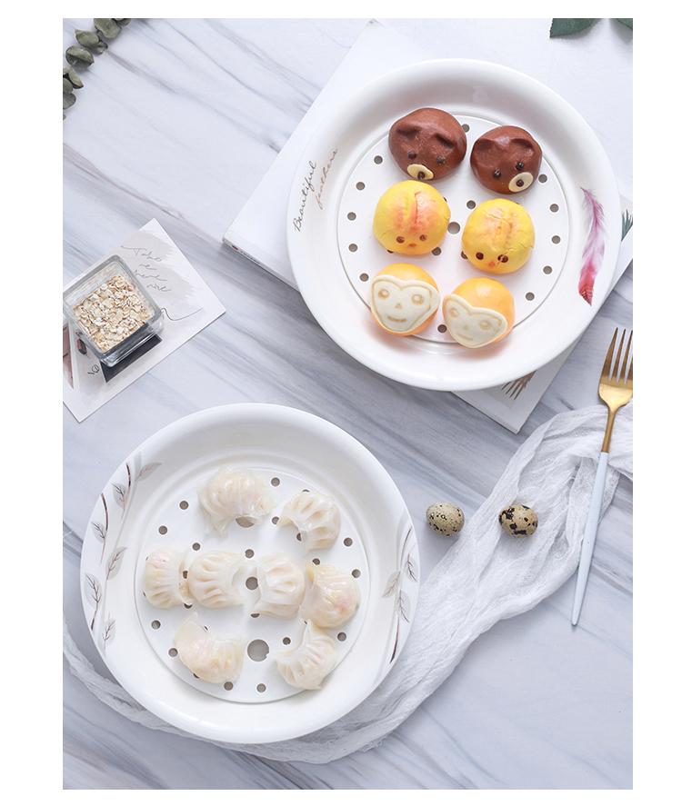 Double disc ceramic large dumpling plate utsuwa dumpling dish drop household ipads China creative fruit dish platter