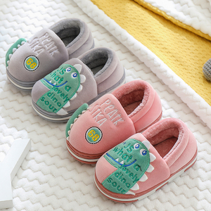 男童棉鞋冬季加绒室内居家卡通女宝宝中大儿童小孩棉拖包跟毛毛鞋