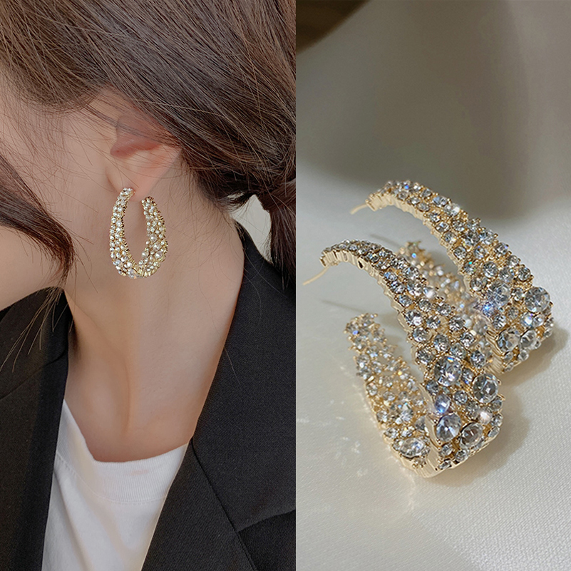 Korean large circle earrings women's European and American flash diamond light luxury 2021 new trend high-grade sterling silver zircon earrings exaggerated