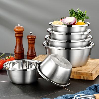 304不锈钢盆子食品级套装加厚家用 厨房打蛋和面洗菜沥水篮漏汤盆