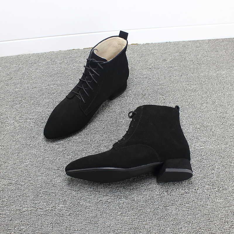 短靴女粗跟秋季平底绑带系带尖头3百搭单靴黑色磨砂真皮马丁靴