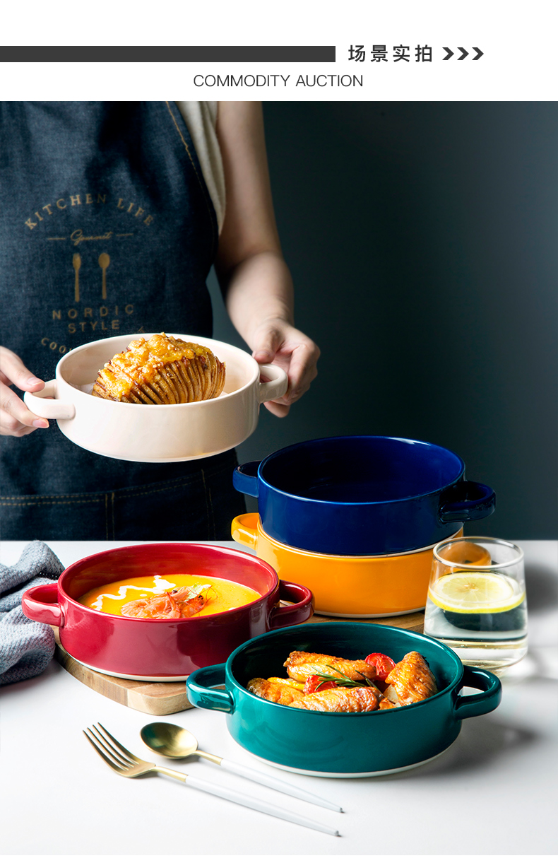 Mould salad platter ceramics microwave baking trays paella baking oven ears Nordic plate can be circular