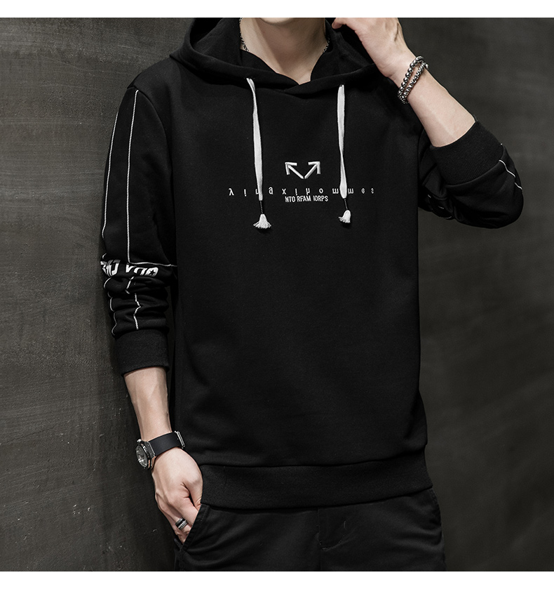 Wei yi men's spring and autumn round-neck casual top Korean version of the trend youth 2020 new coat hooded long-sleeved t-shirt 54 Online shopping Bangladesh