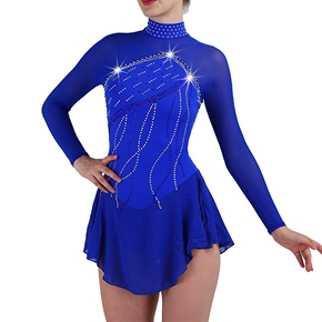 custom size figure skating dress for girls women Figure skating suit skating suit performance suit customized children adult girl competition skirt Navy multi drill long sleeve