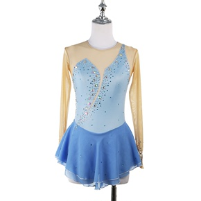 custom size figure skating dress for girls women Figure skating show dress girls skating suit customized children adult competition examination skirt water blue