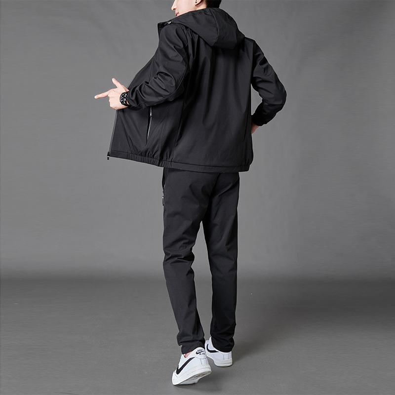 2020年秋冬新款男士休闲套装韩版潮流帅气装夹克痞帅搭配运动装