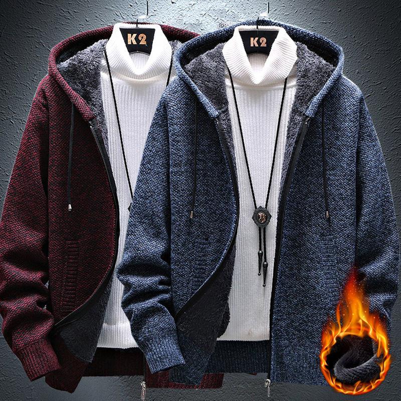 2020秋冬季加绒加厚秋冬季新款男士开衫拉链毛衣宽松针织衫外套