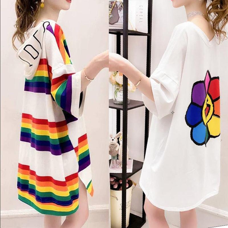 2件装女士中长款t恤小清新新款连衣裙大码