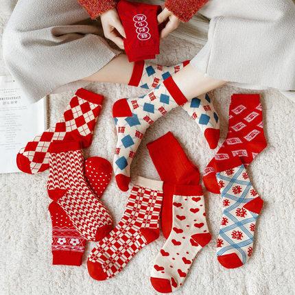 秋冬新款大红色袜子男女婚庆情侣袜千鸟格子花朵本命年中筒棉袜潮