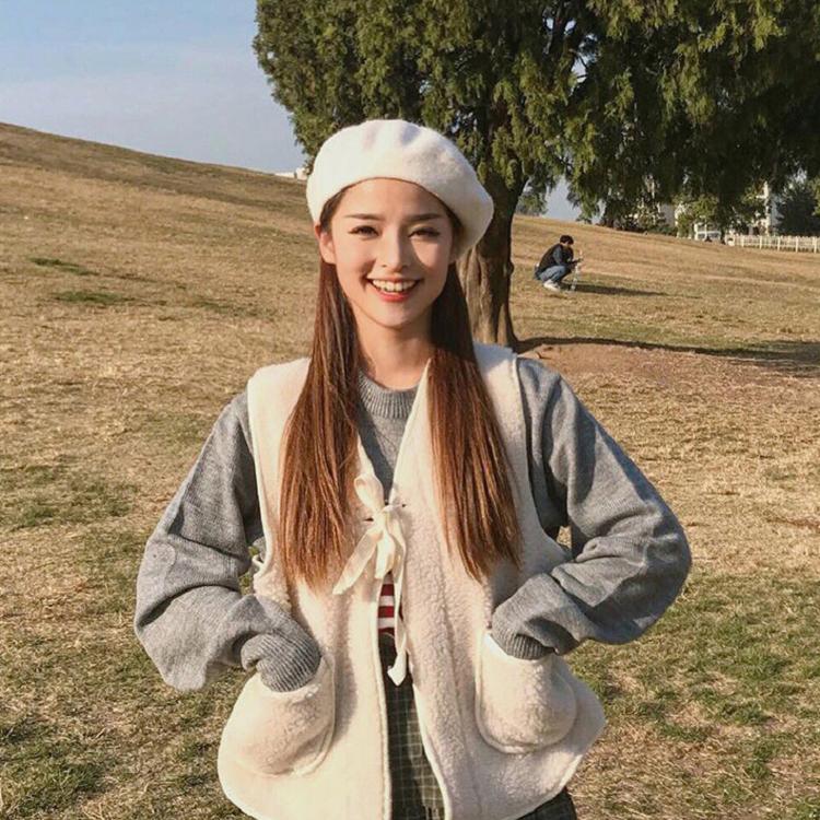 贝雷帽女秋冬季韩版日系百搭羊毛呢蓓蕾帽英伦冬天复古画家帽子潮