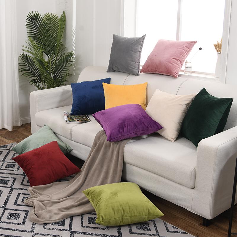 抱枕靠垫沙发纯色办公室枕头腰靠