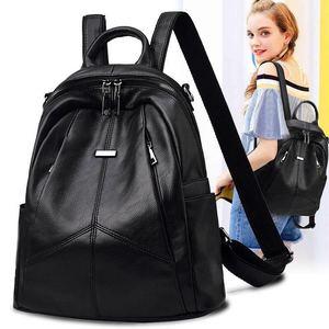 双肩包2020新款女潮流韩版百搭时尚旅行包软皮女士包包书包背包女
