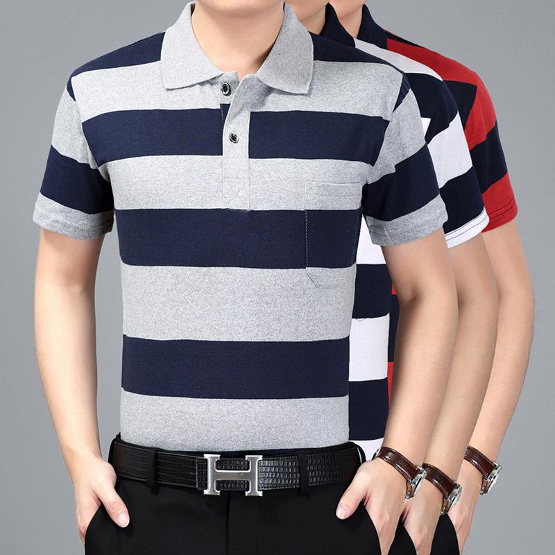 2020新款中老年男装t恤短袖男士大码宽松条纹T恤男夏季中年爸爸装