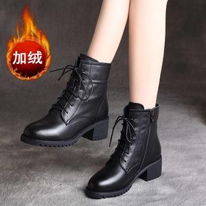 秋冬季百搭黑色厚底机车靴短靴马丁靴女鞋