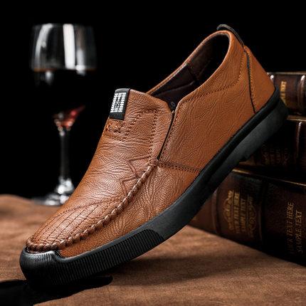 男士休闲皮鞋软底鞋豆豆鞋懒人一脚蹬男鞋 券后69元包邮