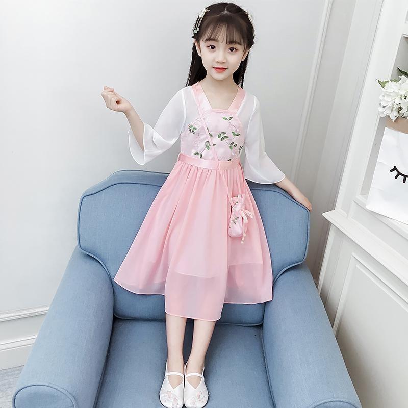 女童夏季连衣裙儿童旗袍中国风公主裙汉服