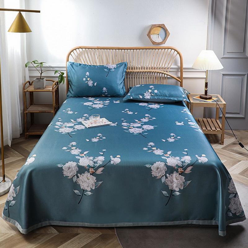 夏季凉席冰丝席三件套纯色冰丝图案水洗床单