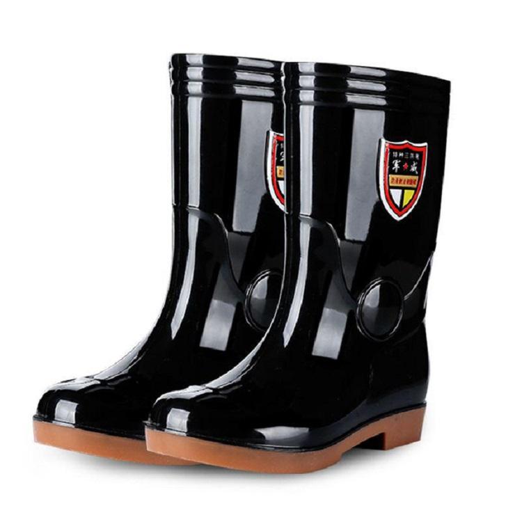 军登牛筋底防水雨鞋男高筒水鞋男工地胶鞋雨靴短水靴厨房鞋男防滑